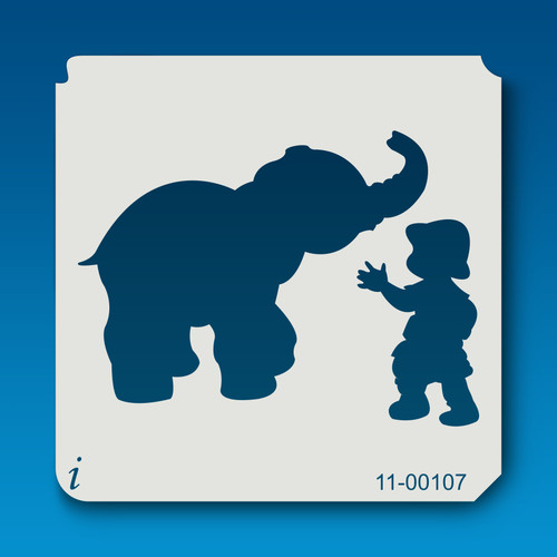 11-00107 Elephant & Boy Safari Animal Stencil