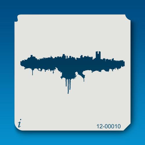 12-00010 Paint Splatter Cityscape Stencil