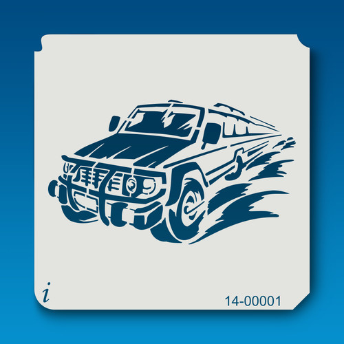 14-00001 Flaming Truck Flame Stencil