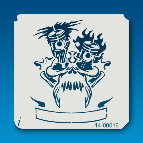 14-00016 motor skull banner stencil