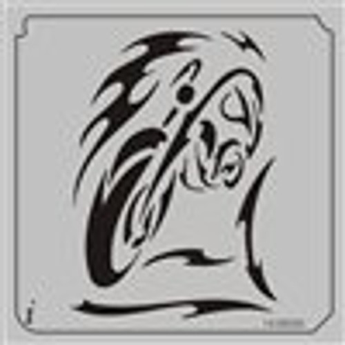 14-00030 Flaming Motorcyle Flame Stencil
