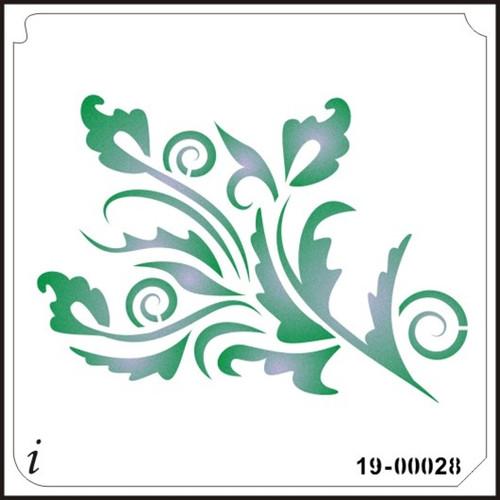 19-00028 Swirly Leaf Airbrush Stencil
