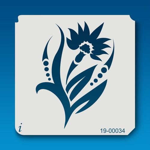 19-00034 Stylized Iris Flower Stencil