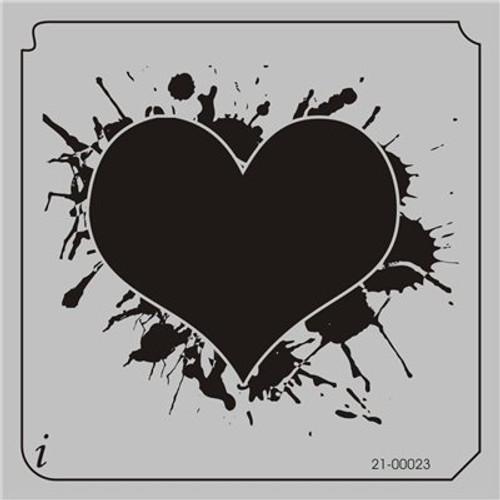 21-00023 Ink Blot Heart Craft Stencil