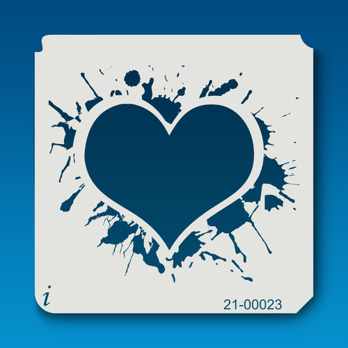 21-00023 Ink Blot Heart Craft Stencil