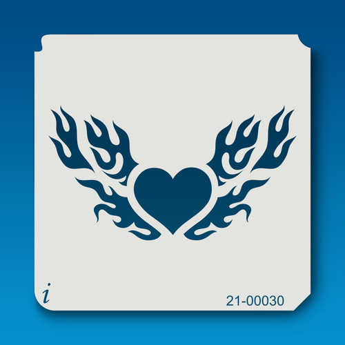 21-00030 flaming heart decorative stencil