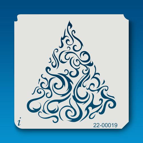 22-00019 Swirly Christmas Tree Stencil