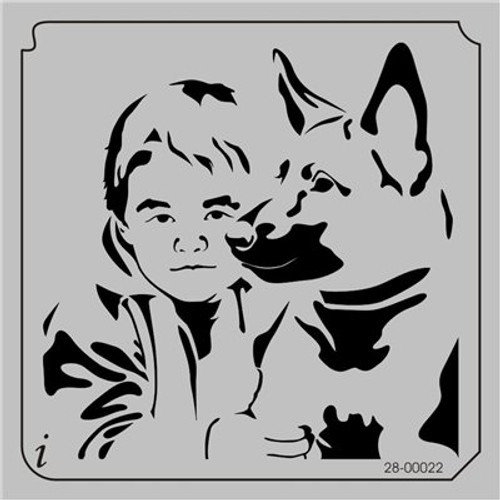 28-00022 Boy & Dog Pet Stencil