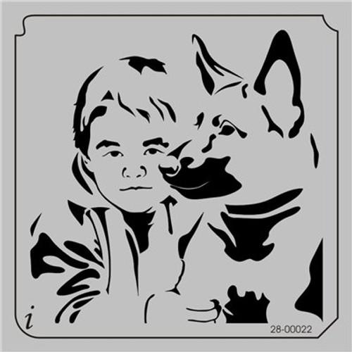 28-00022 Boy & Dog Pet Stencil