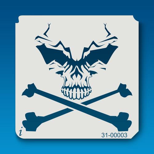 31-00003 alien skull and crossbones stencil