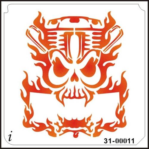 31-00011 Flaming Motorhead Skull Banner