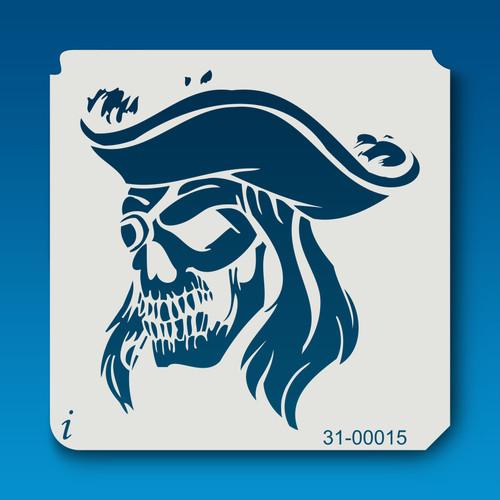 31-00015 Pirate Captain Skull Stencil