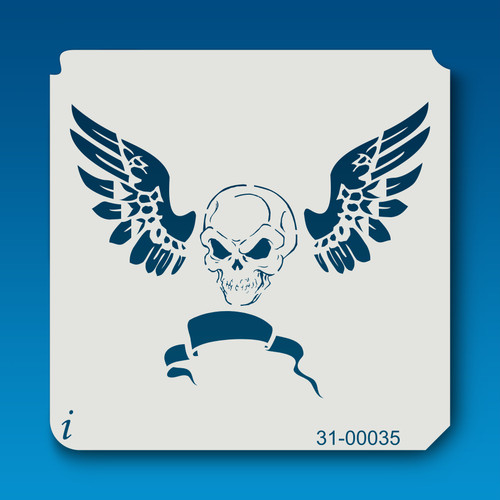 31-00035 skull and wings banner stencil