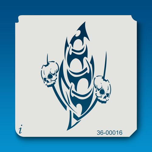 36-00016 tribal skull stencil