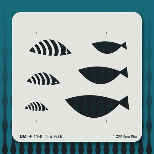4011 Trio Fish stencil