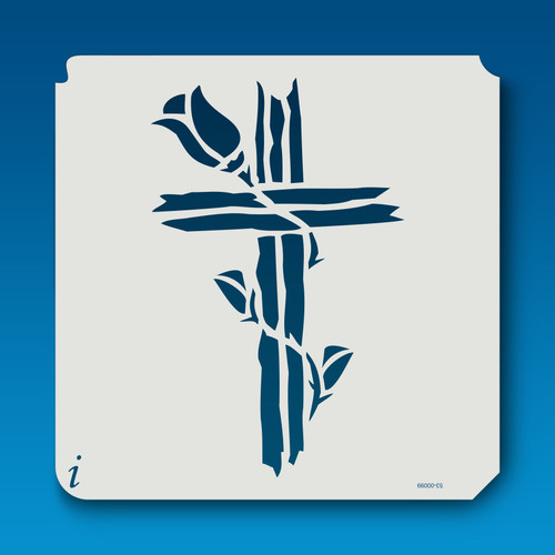 53-00099 Rose Rugged Cross Stencil