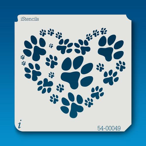 54-00049 paw print heart stencil