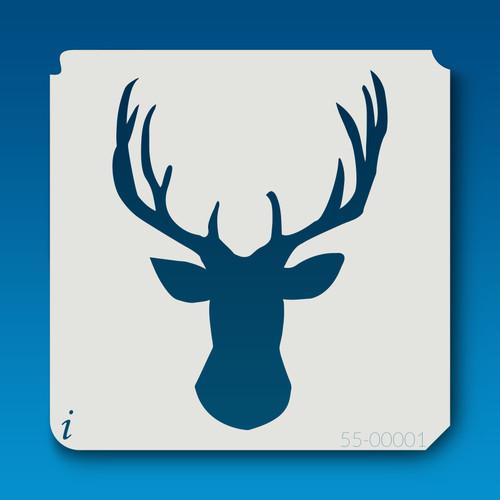 55-00001 deer head silhouette 1 stencil