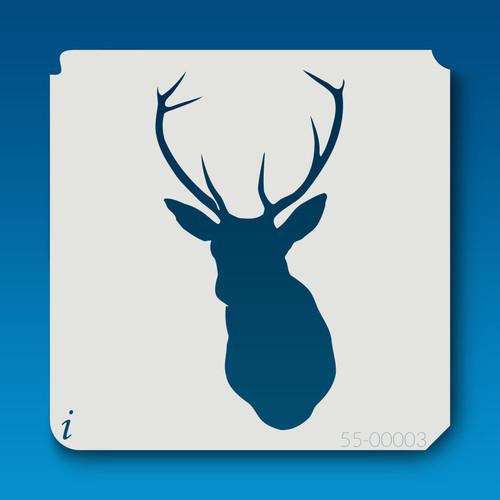55-00003 deer head silhouette 3 stencil