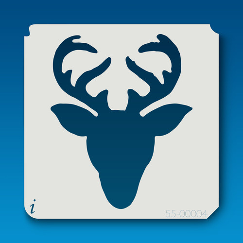 55-00004 reindeer head silhouette  stencil