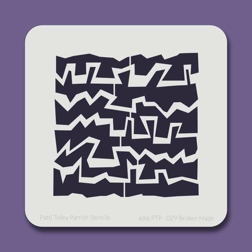 6X6 PTP-029 Broken Maze Stencil