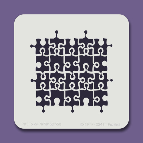6X6 PTP-034 I'm Puzzled Stencil