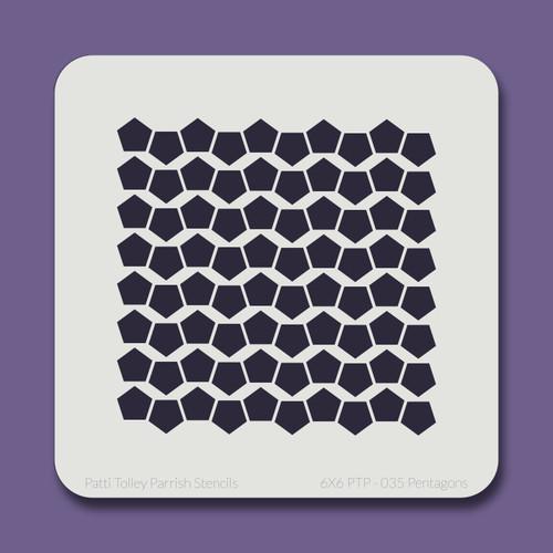 6X6 PTP-035 Pentagons Stencil