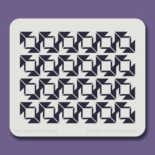 8X10 PTP-010 Tribal Squares Stencil