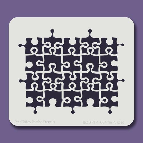 8X10 PTP-034 I'm Puzzled Stencil