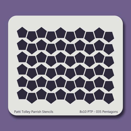 8X10 PTP-035 Pentagons Stencil