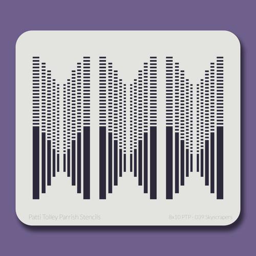 8X10 PTP-039 Skyscrapers Stencil