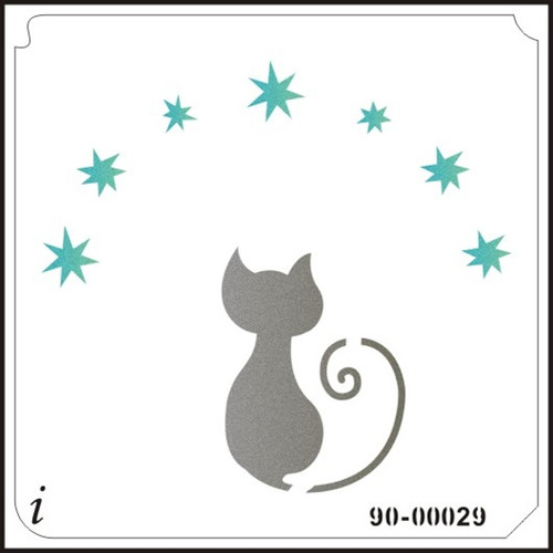 90-00029 Cat and Stars Stenciling