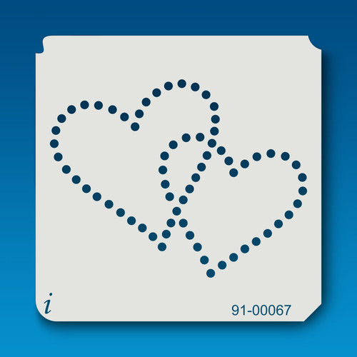 91-00067 Dotted Double Heart Stencil