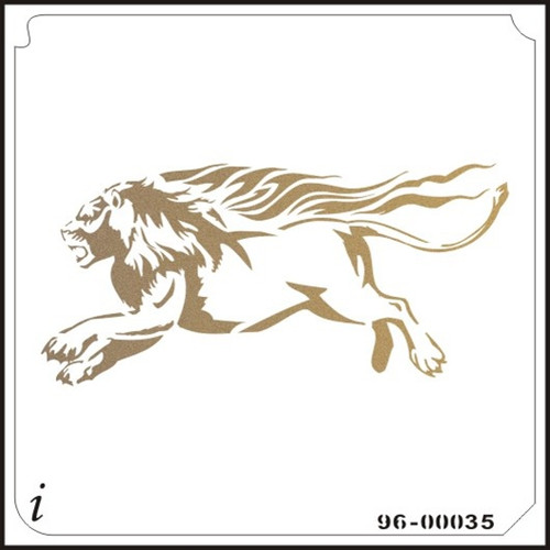 96-00035 Running Lion Safari Animal Stencil