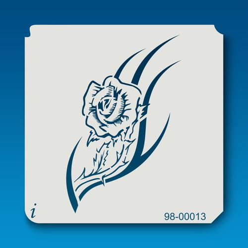 98-00013 resting rose tattoo stencil