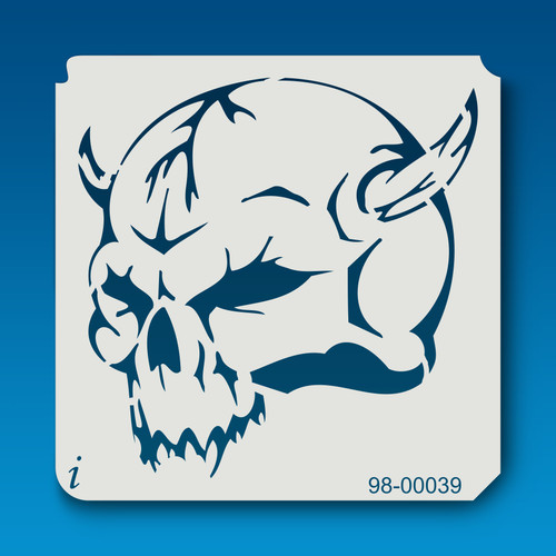 98-00039 Horned Skull Tattoo Stencil