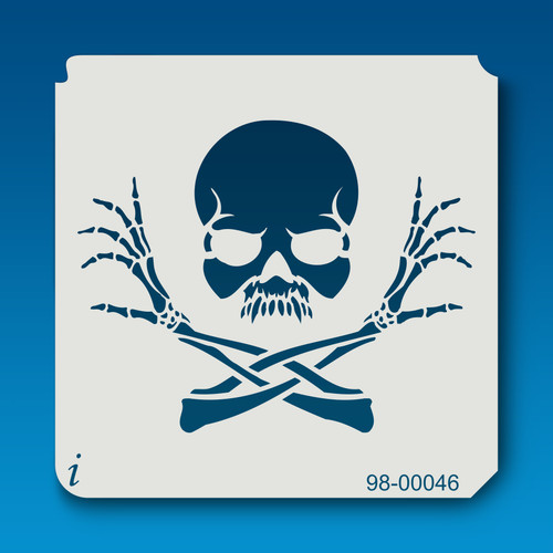 98-00046 Crossed Arm Skull Stencil