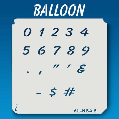AL-NBA Balloon - Numbers  Stencil