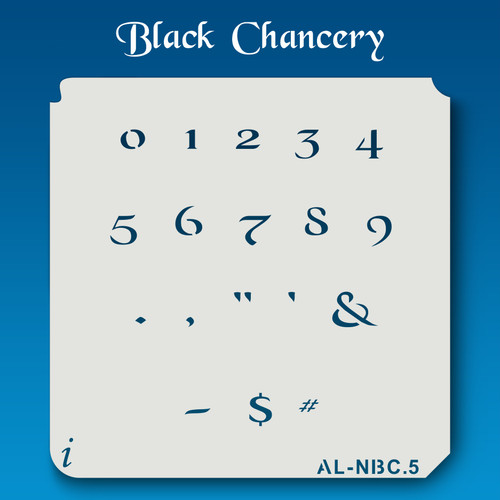 AL-NBC Black Chancery - Numbers  Stencil