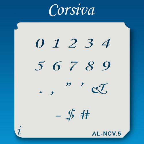 AL-NCV Corsiva - Numbers  Stencil