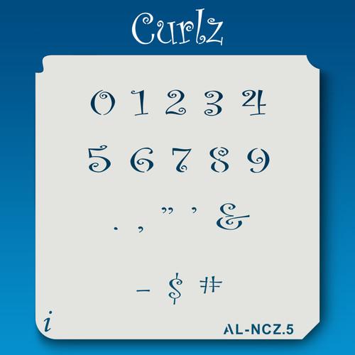 AL-NCZ Curlz - Numbers  Stencil