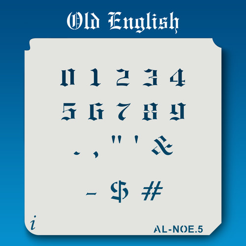 AL-NOE Old English - Numbers  Stencil