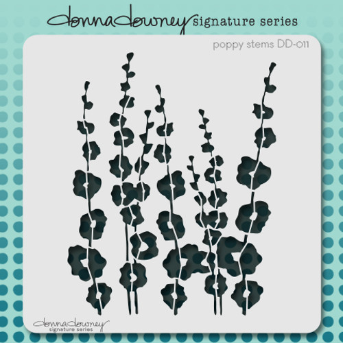 DD-011 poppy stems stencil