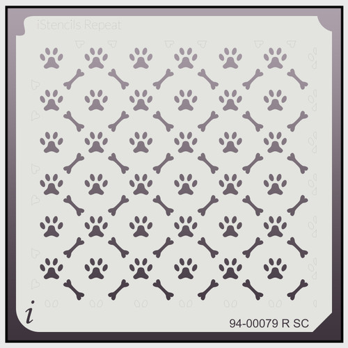 94-00079 R SC paw and bone repeat stencil