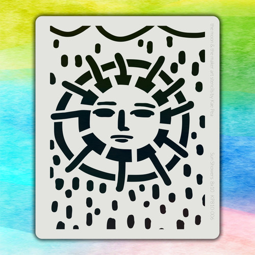 8x10 KP-006 sun showers stencil
