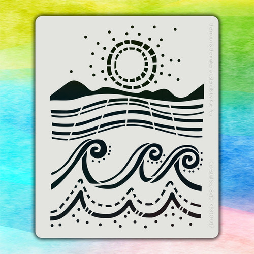 8x10 KP-017 celestial sea stencil