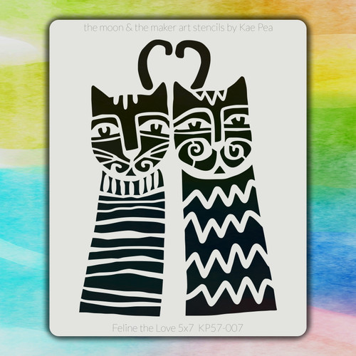 5x7 KP-007 Feline the Love stencil