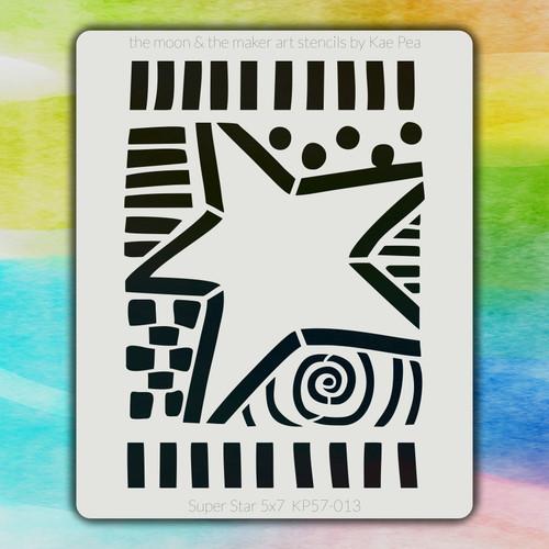 5x7 KP-013 Super Star stencil