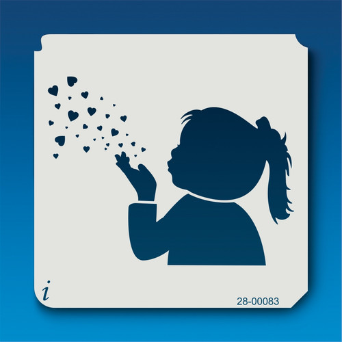 28-00083 Girl Blowing Hearts Stencil