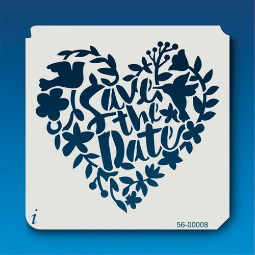 56-00008 Save the Date Floral Heart Stencil